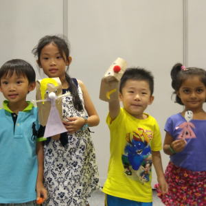Children with their puppets